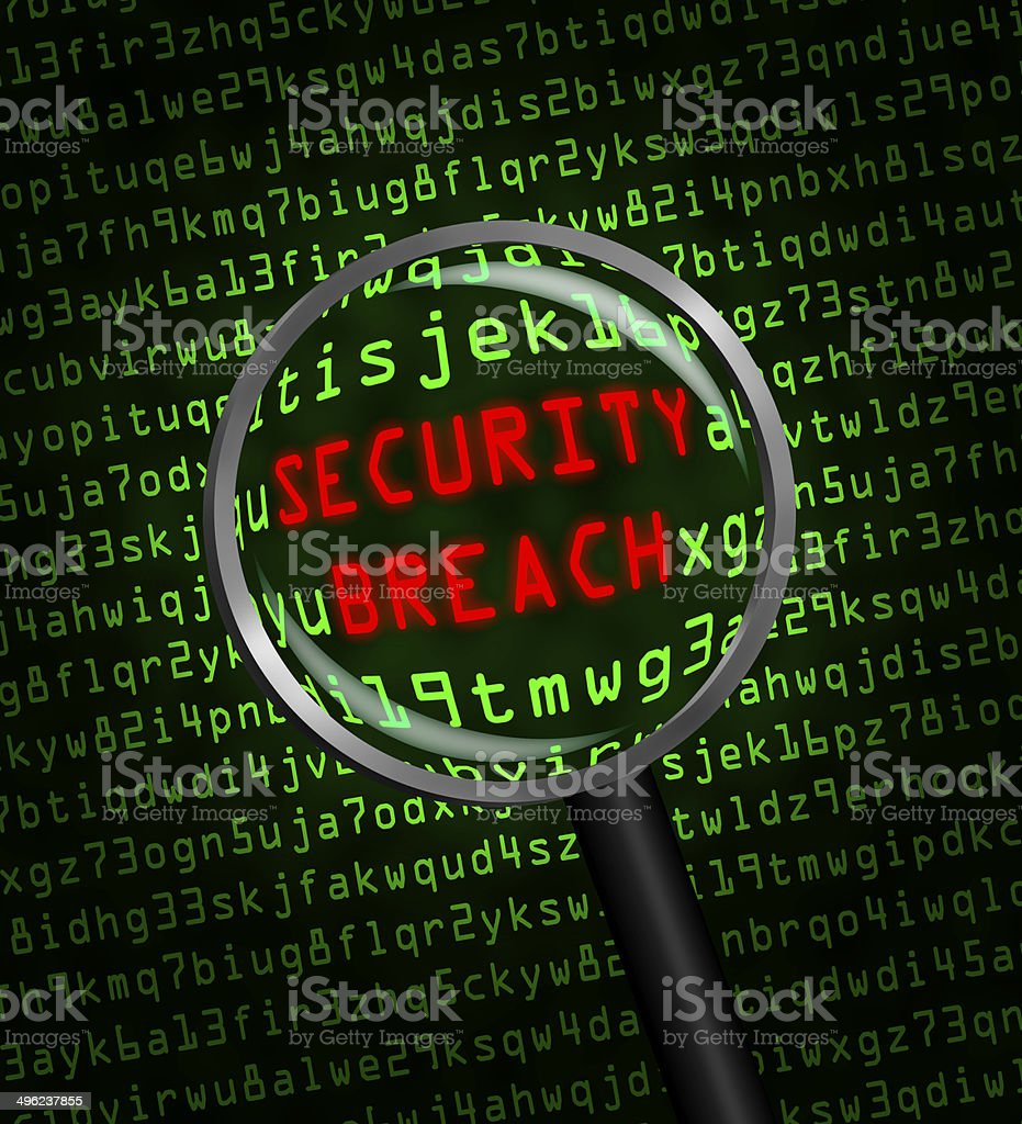 SECURITY BREACH revealed in green computer code through magnifying glass stock photo