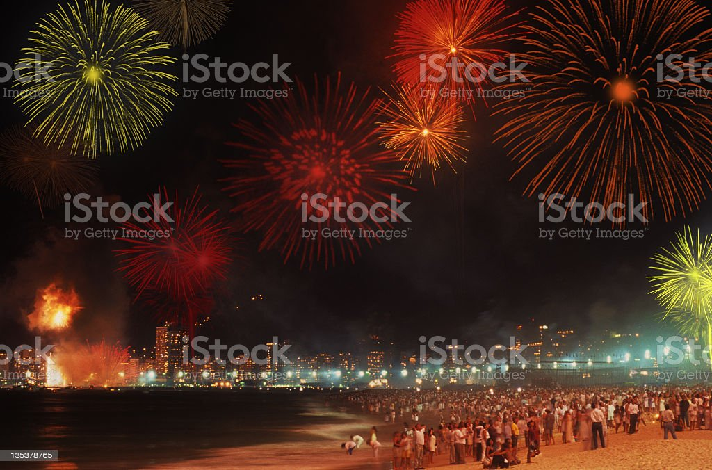 Reveillon in Copacabana Beach stock photo