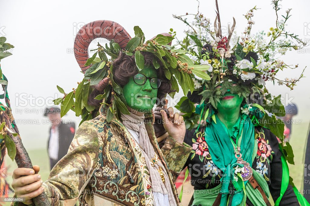 Revellers at Hastings' annual Jack-in-the-Green Festival, May 2016 stock photo
