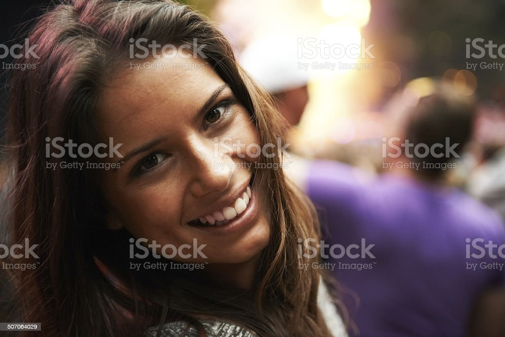 Revelling in the party atmosphere stock photo