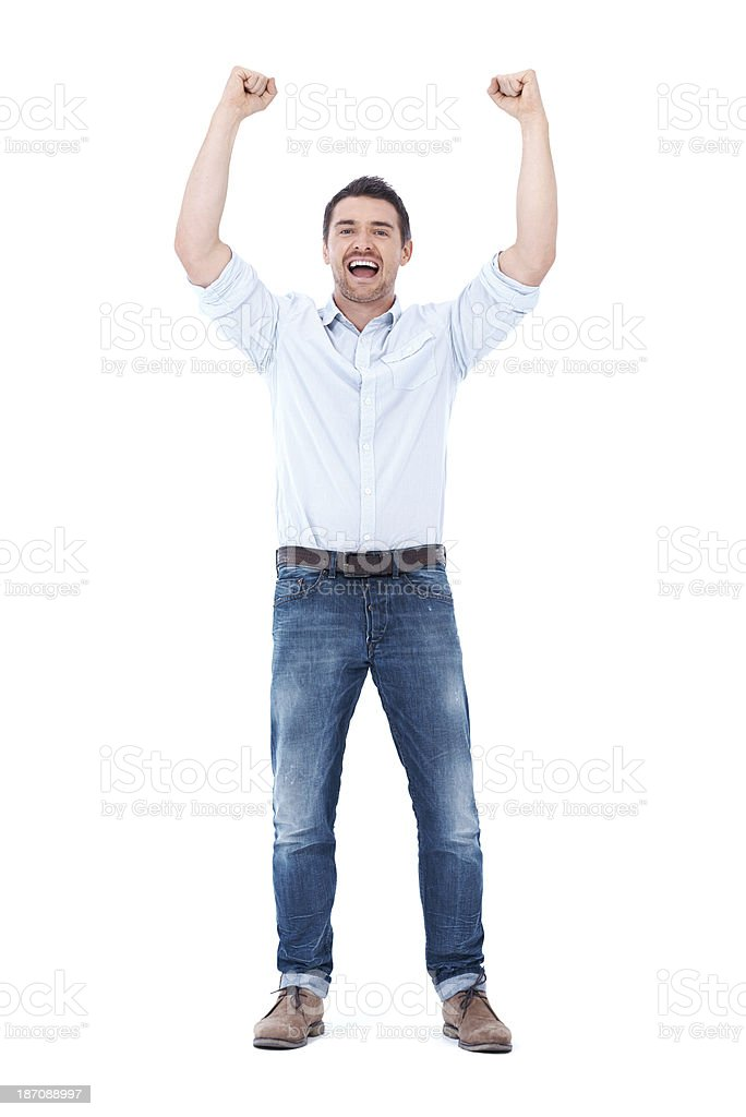Revelling in the success after hours of hard work royalty-free stock photo