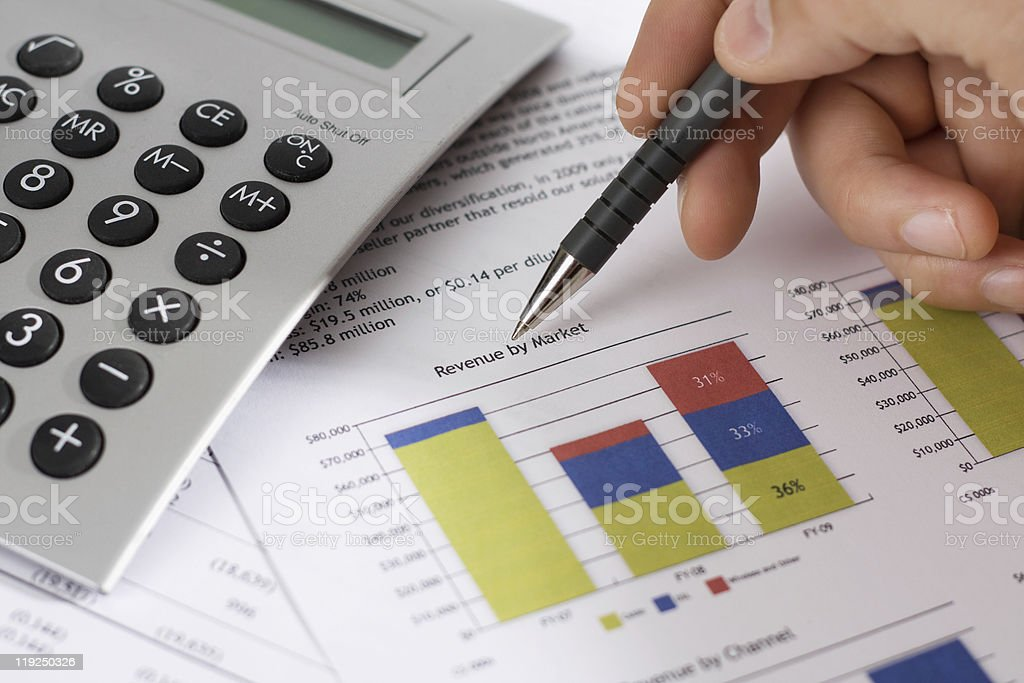 Revenue by Market and finance stock photo