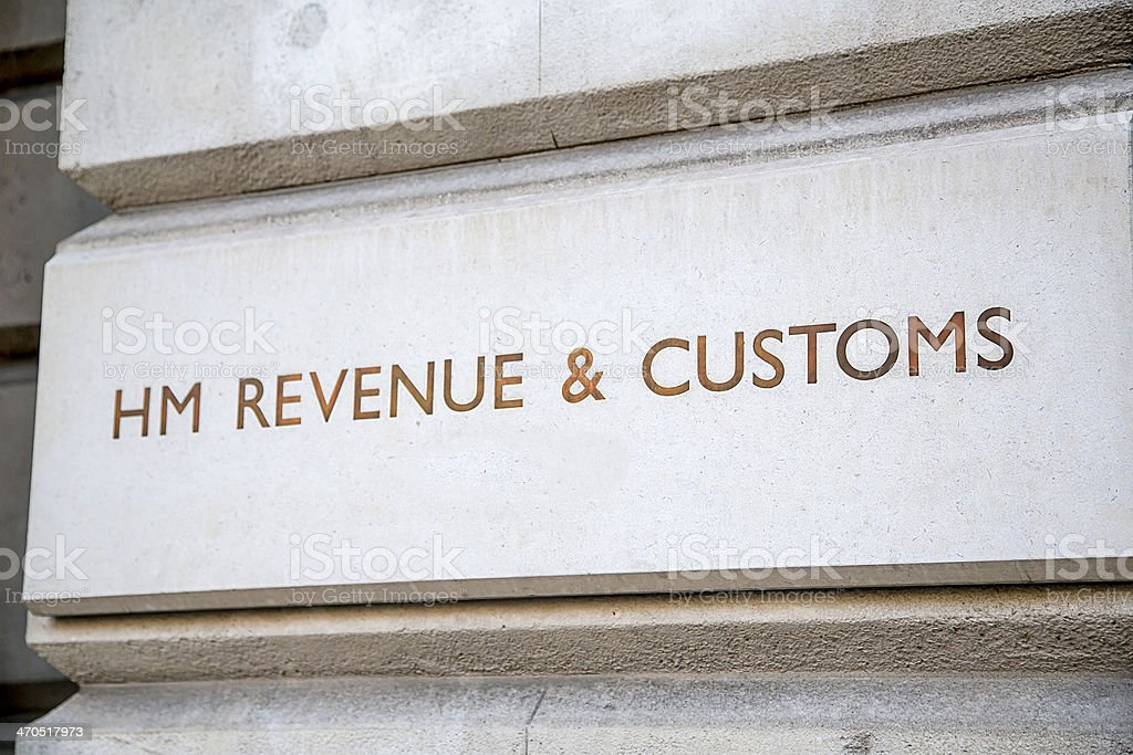 HM Revenue & Customs Sign, Westminster, London stock photo