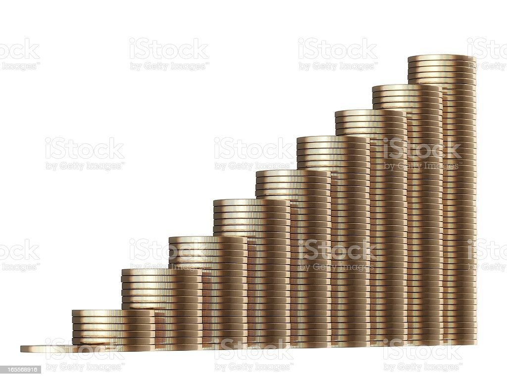 revenue growth in the form of piles golden coins royalty-free stock photo