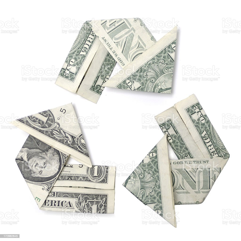 Revenue, Reinvest, Return Dollar Bills Folded Recycle White Background stock photo