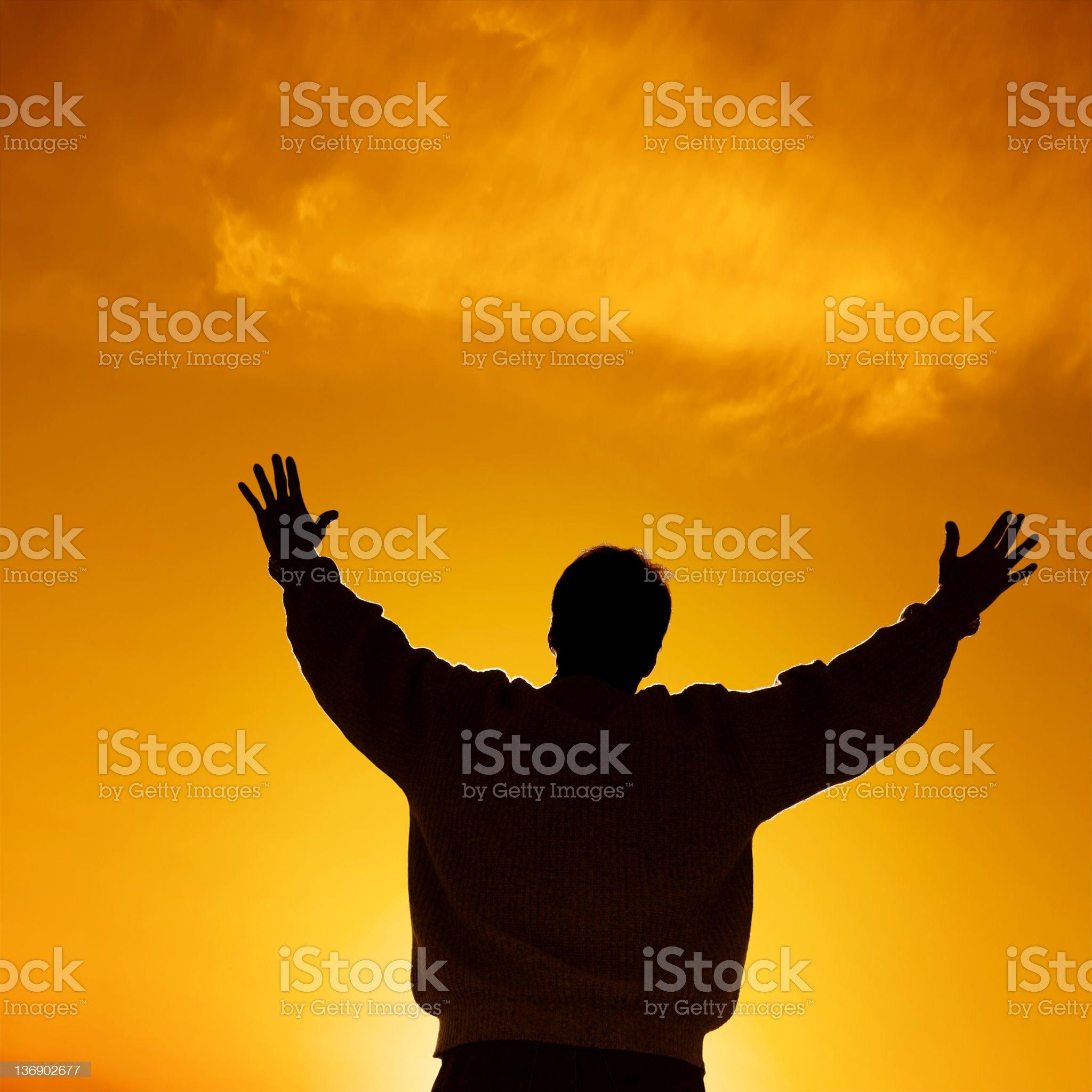 reverent man silhouette royalty-free stock photo