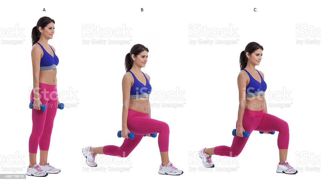 Reverse dumbbell lunge stock photo