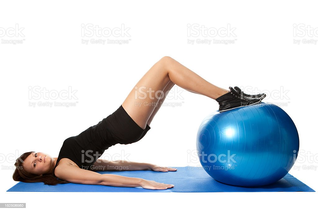 Reverse leg roll excercise stock photo