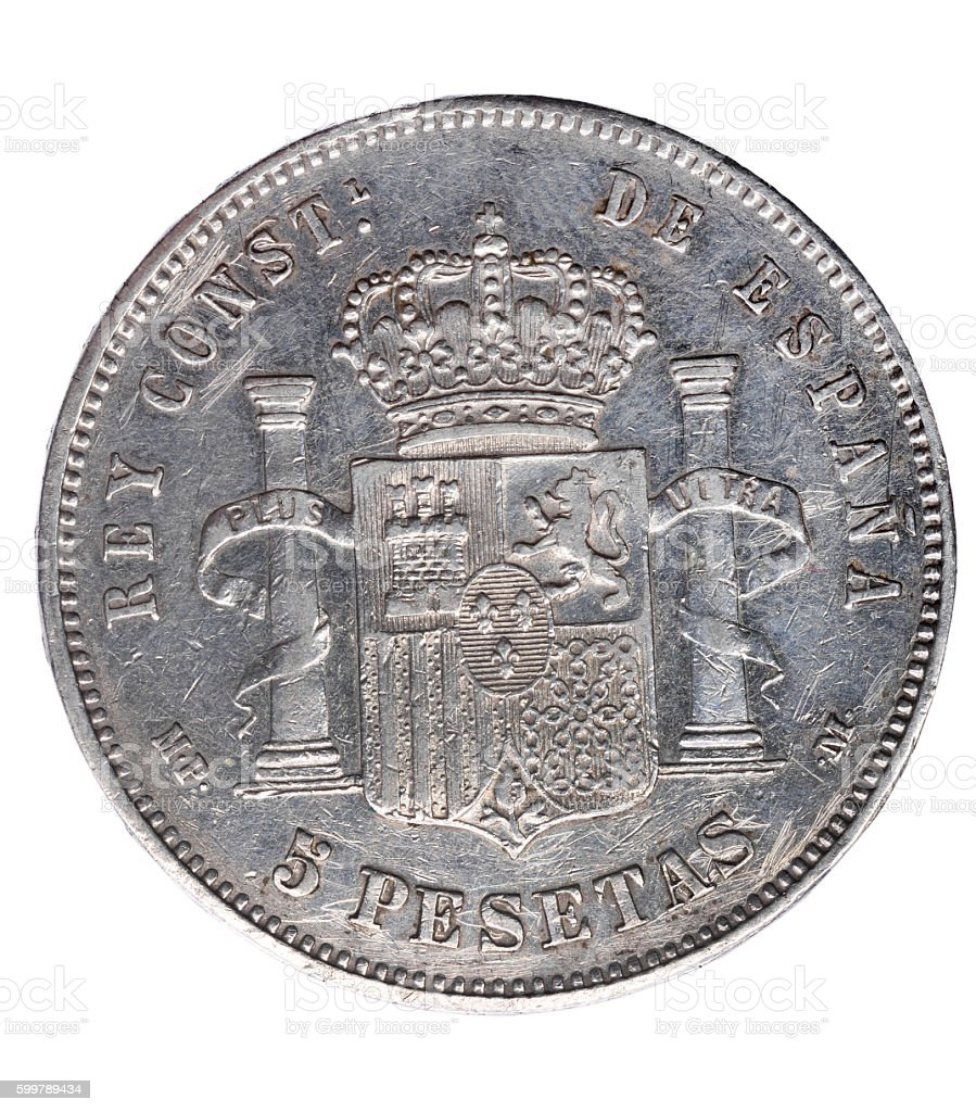 Reverse of coin of  Alfonso XIII, stock photo