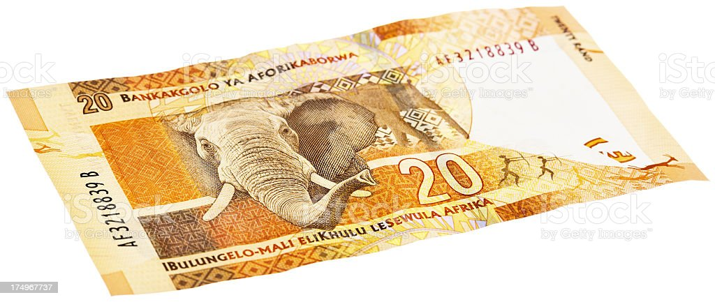 Reverse of new South African Twenty Rand banknote with elephant stock photo
