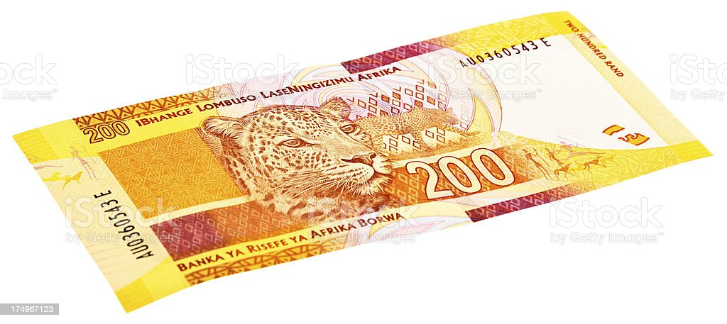 Reverse of new South African two Hundred banknote with leopard stock photo