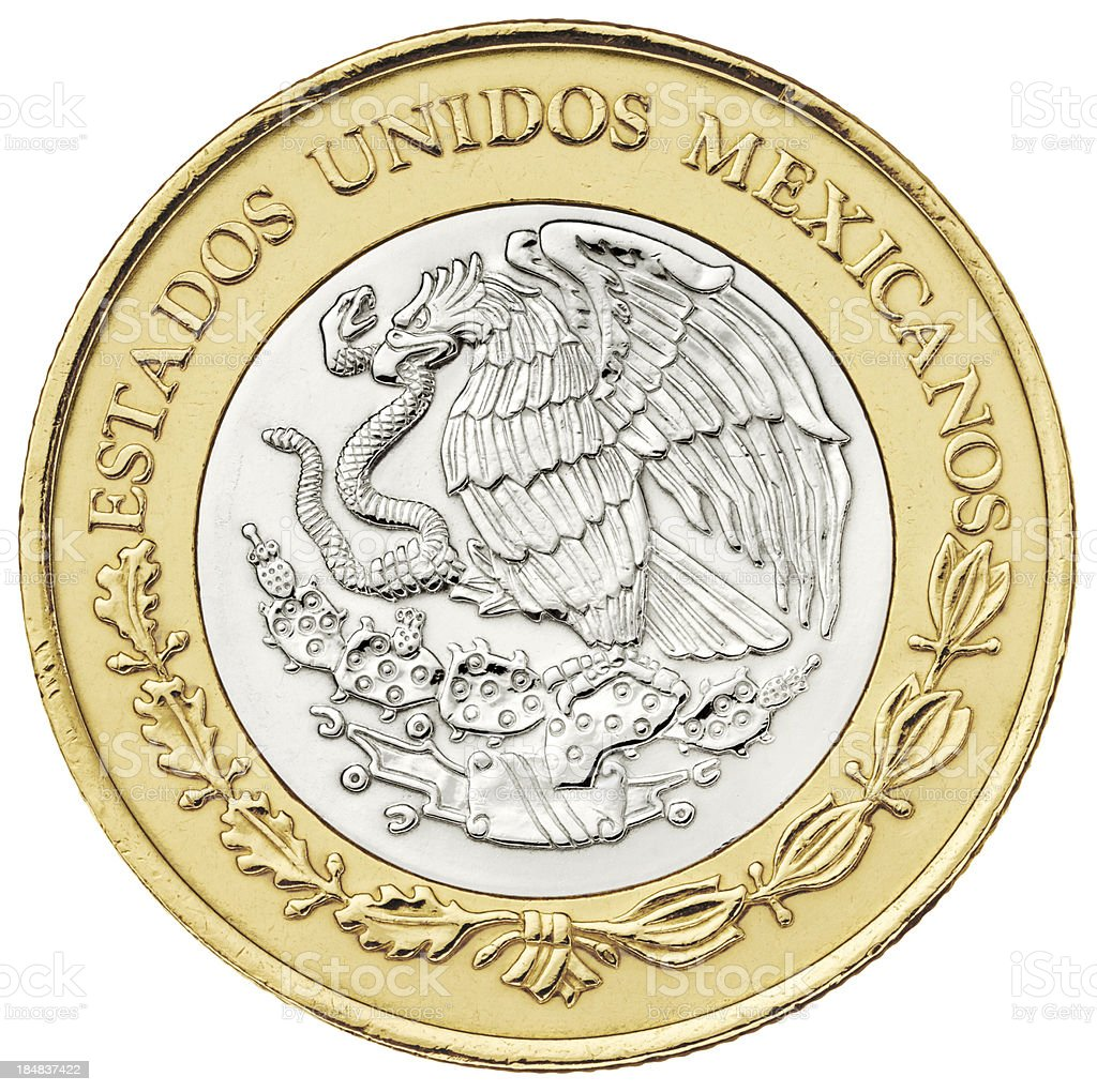 Reverse of ten pesos Mexican coin with clipping path stock photo
