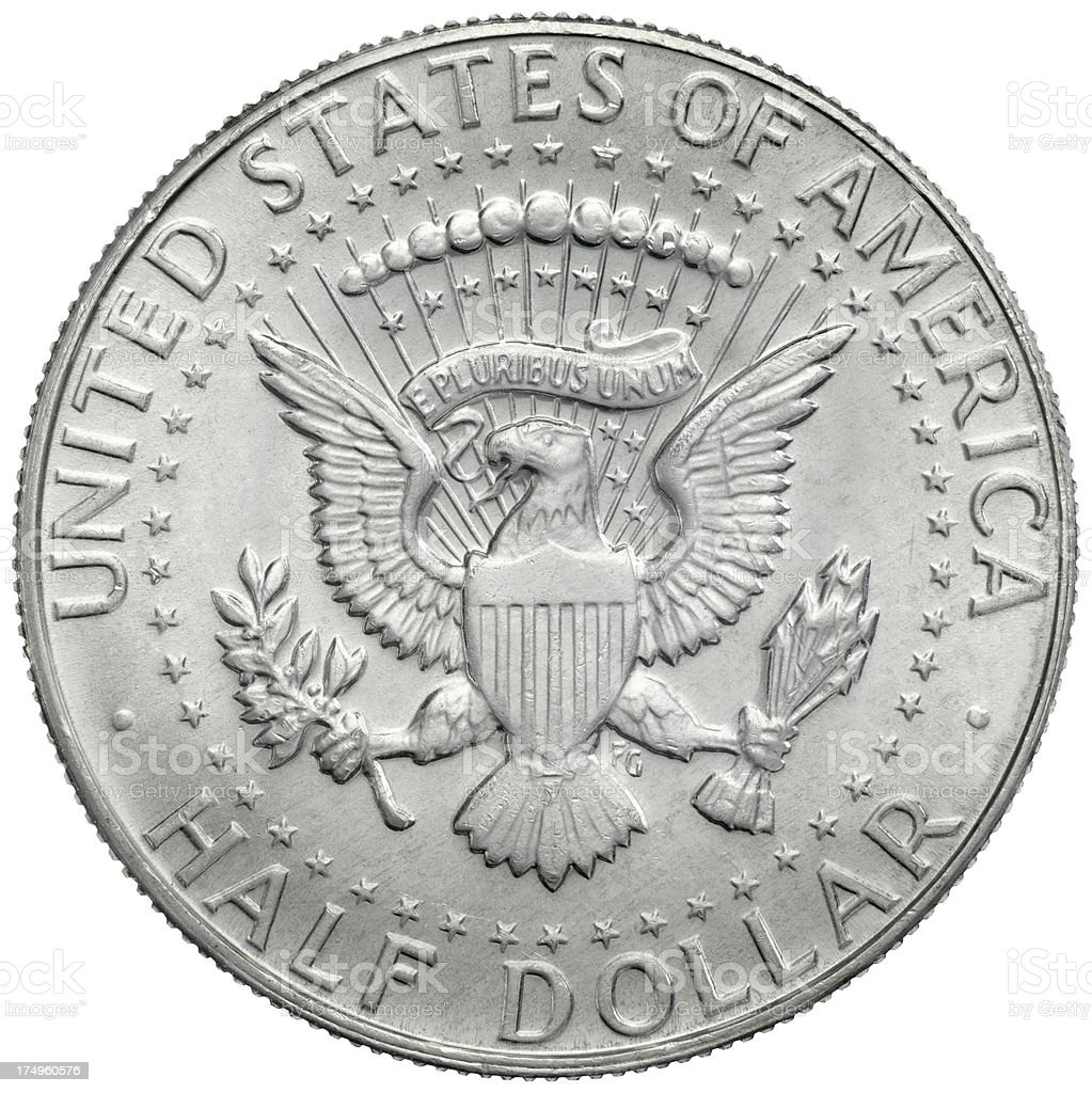 Reverse of the 1970 John F. Kennedy Half Dollar royalty-free stock photo