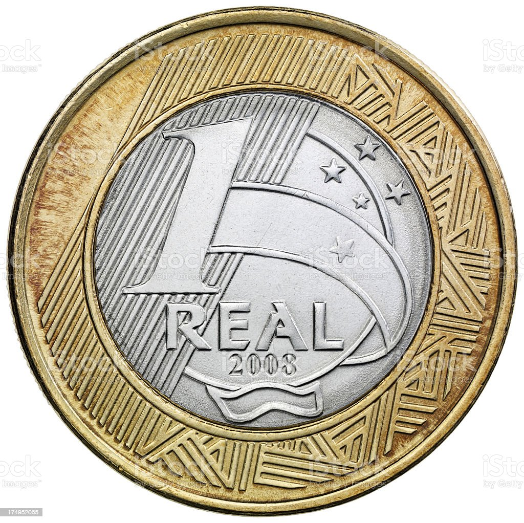 Reverse of the Brazilian one Real coin stock photo