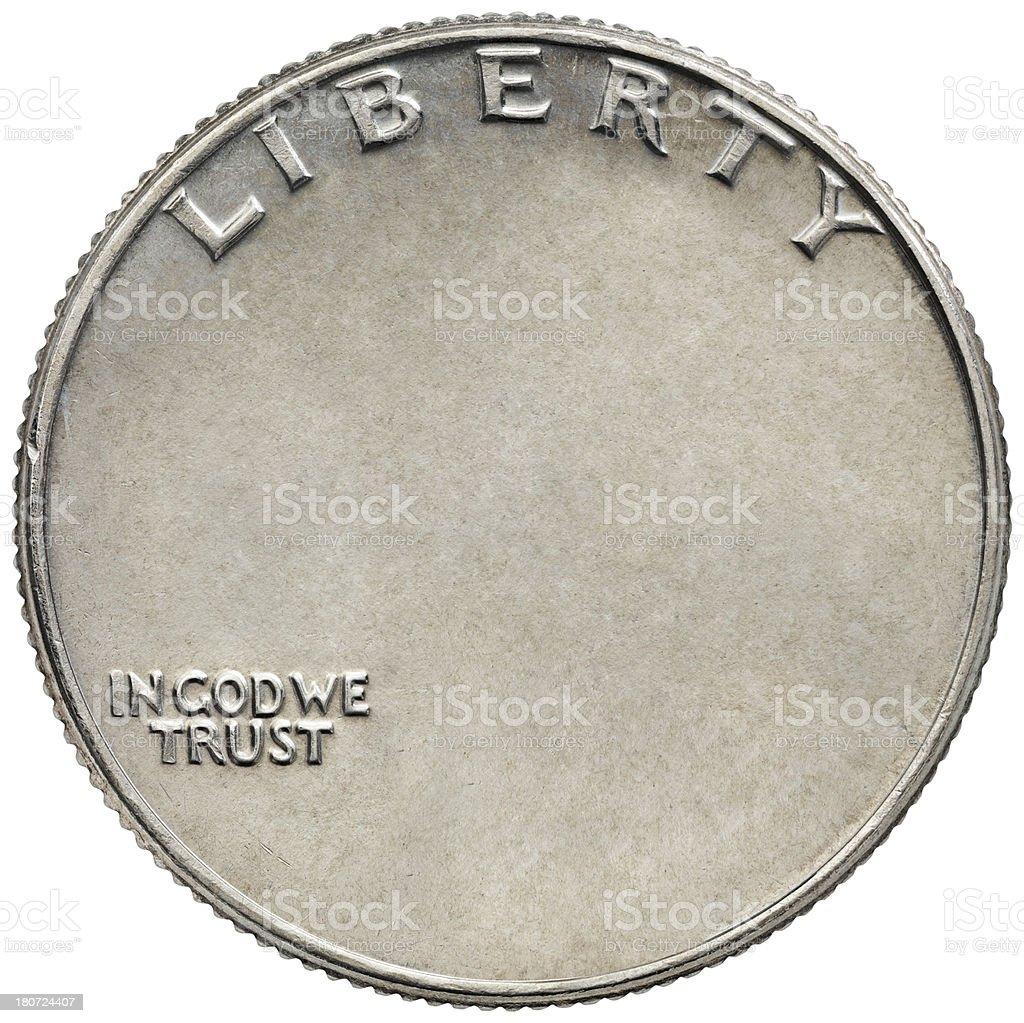Reverse of the USQuarter Dollar without George Washington stock photo