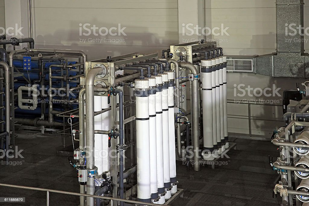 reverse osmosis equipment inside of plant stock photo