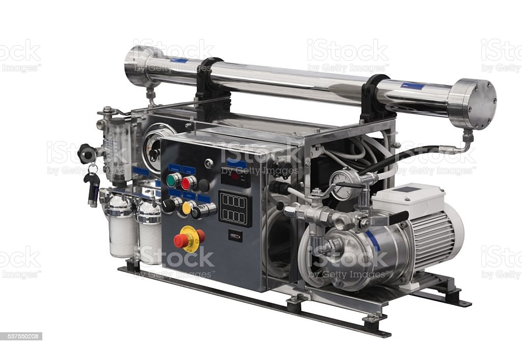 Reverse osmosis system for filtered water stock photo