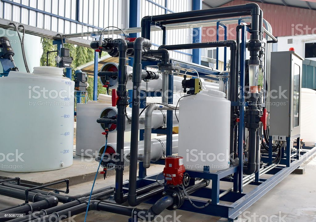 Reverse osmosis system for water drinking plant. stock photo