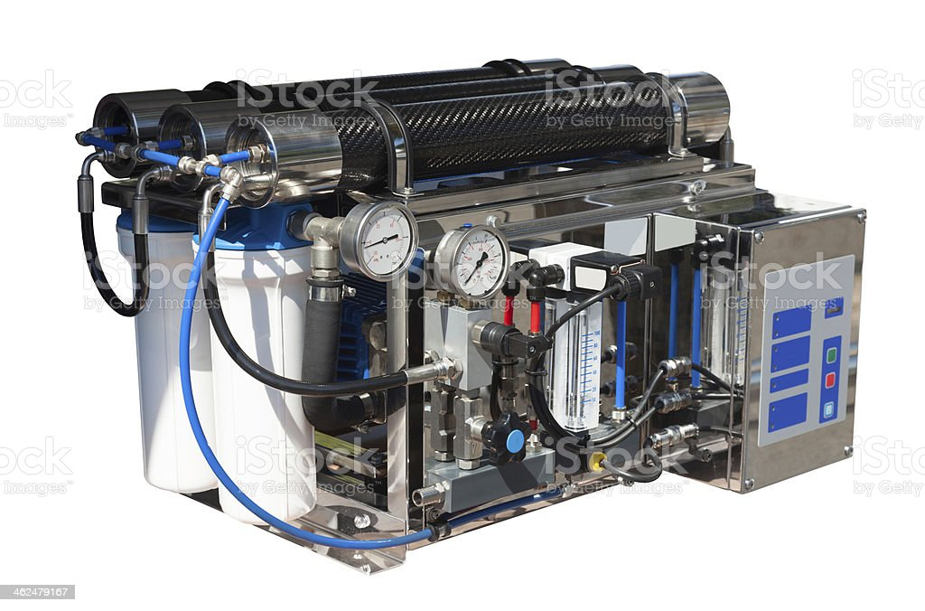 Reverse osmosis system. Isolated over white royalty-free stock photo