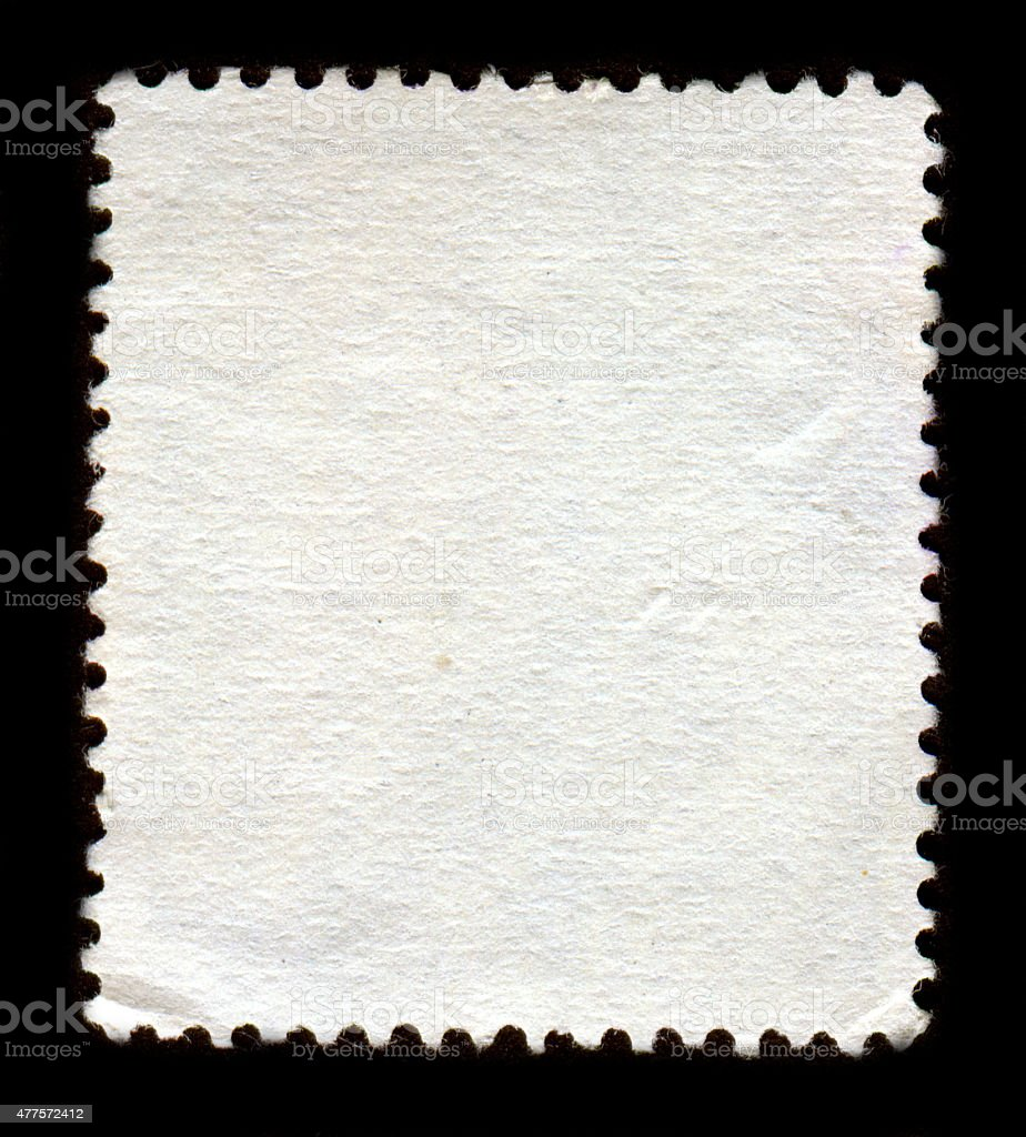 Reverse side of a postage stamp. stock photo