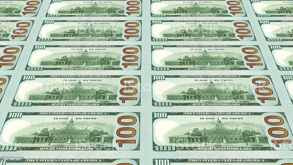 Reverse side of new 100 dollar bills 3d view stock photo