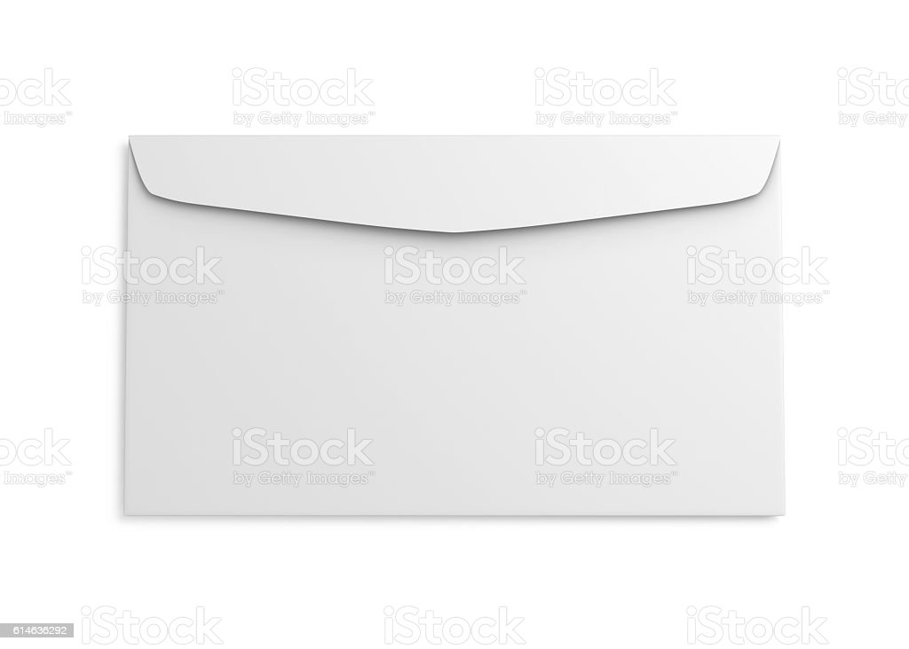 Reverse side of the envelope isolated on white background. stock photo