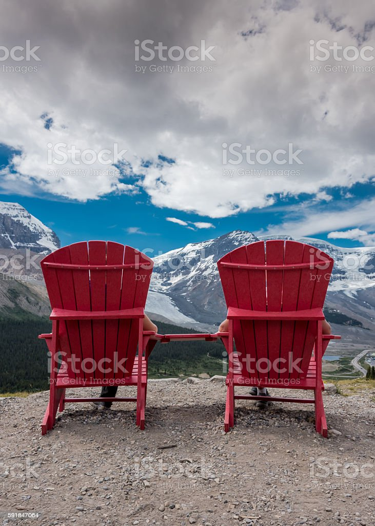Reverse View of Red Chairs Looking Out stock photo