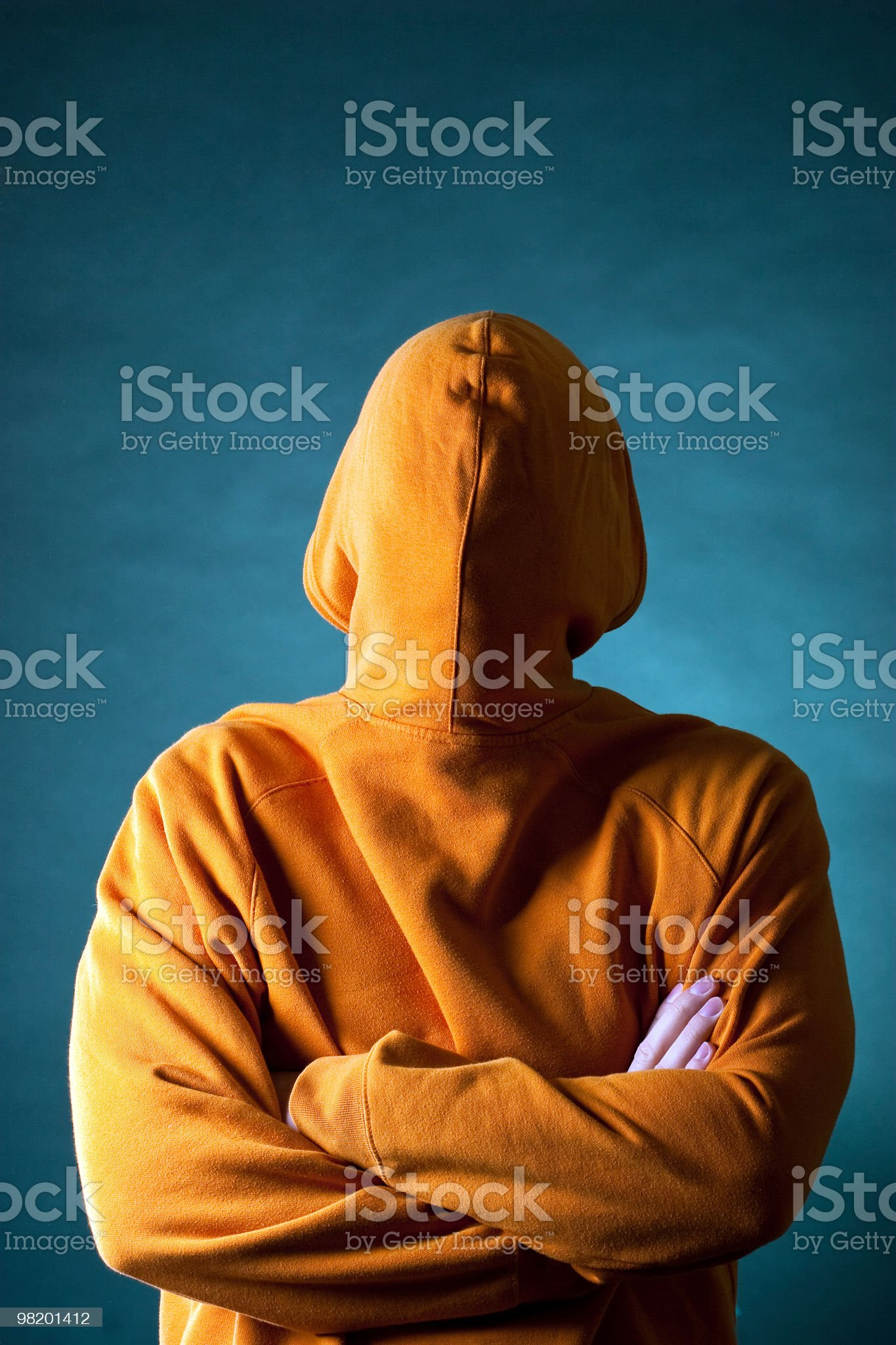 Reversed male on a blue background royalty-free stock photo