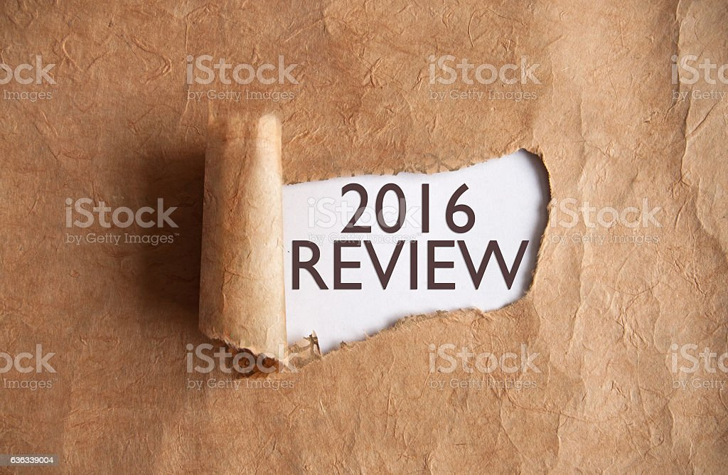 Review 2016 uncovered stock photo