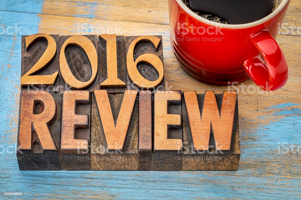 2016 review banner in wood type stock photo