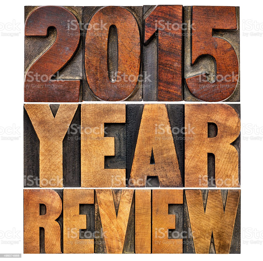 review of 2015 year banner stock photo