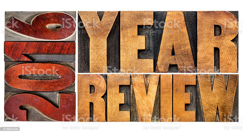 review of 2016 year banner stock photo