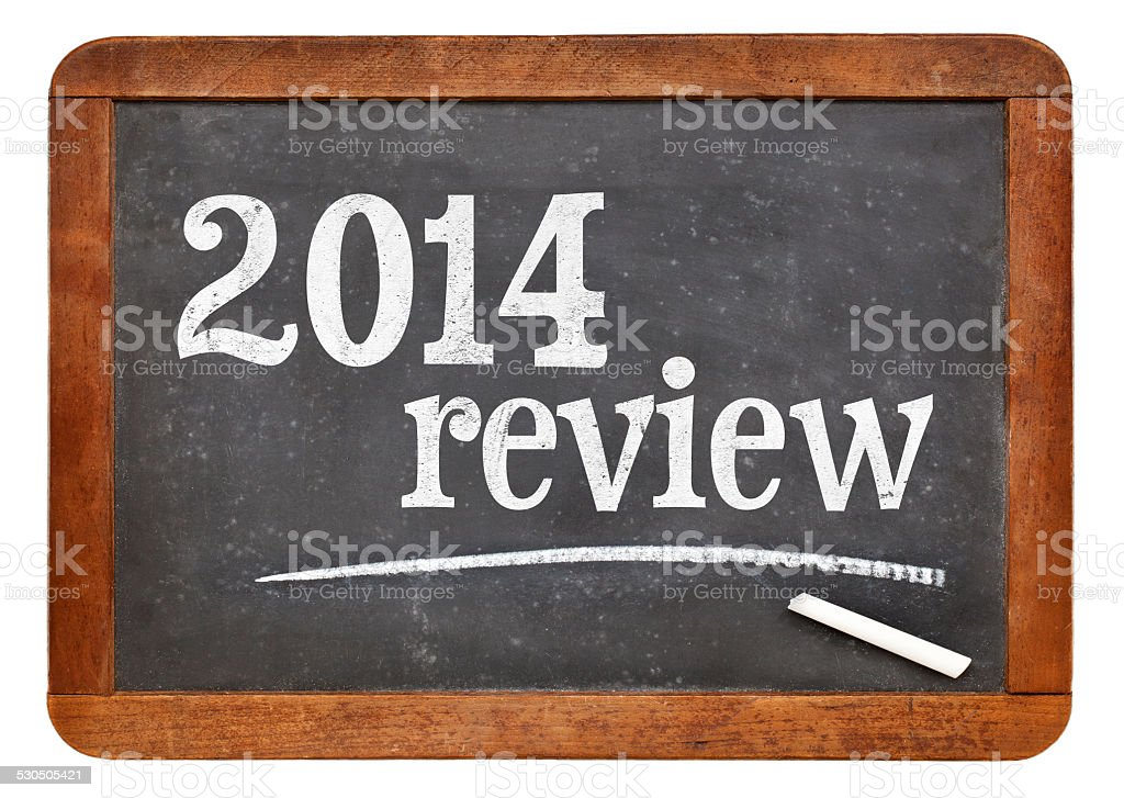 2014 review on blackboard stock photo