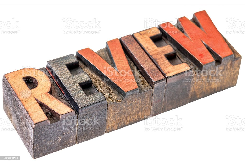 review word in vintage wood type stock photo