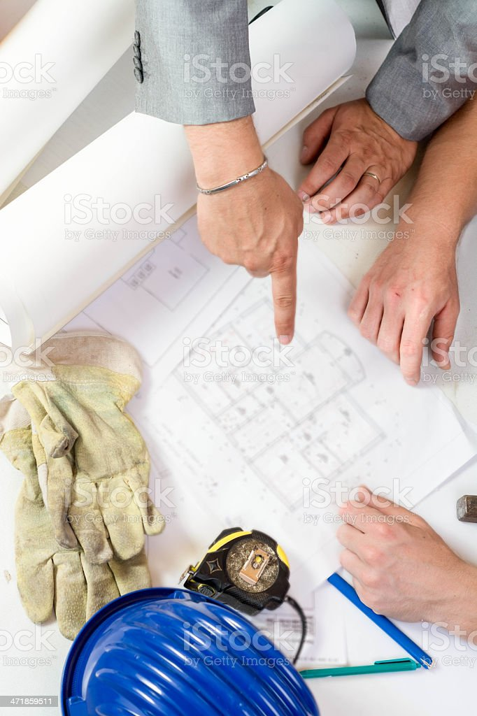 Reviewing Blueprints royalty-free stock photo