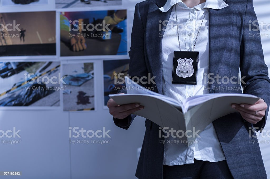 Reviewing files and documents stock photo