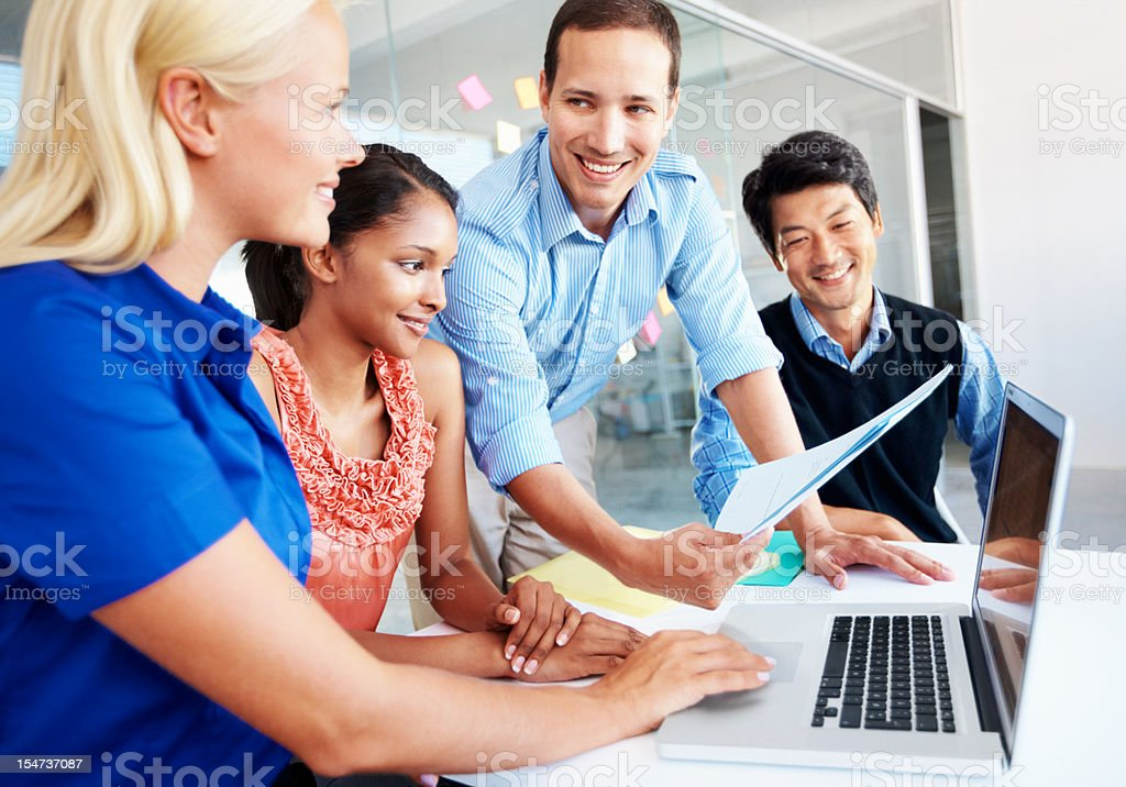 Reviewing their work in print royalty-free stock photo