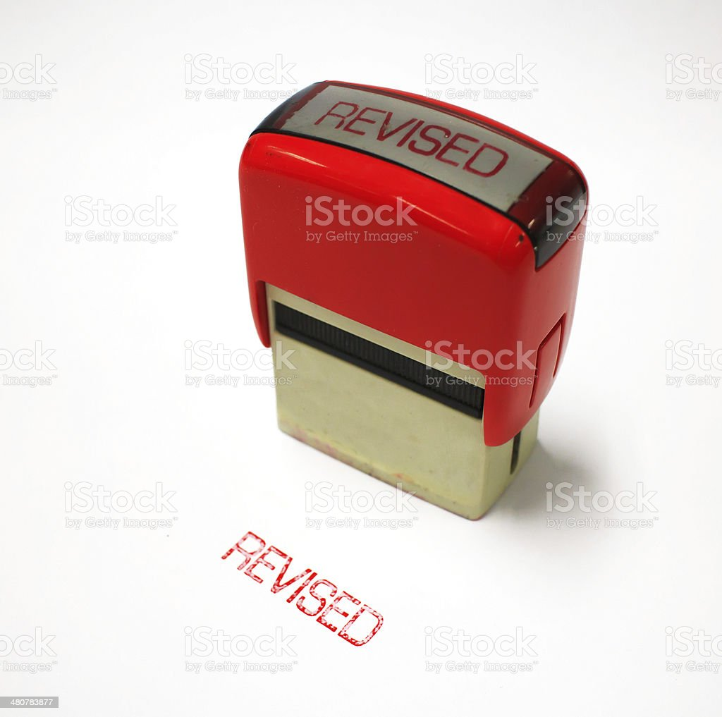 revised rubber stamp stock photo