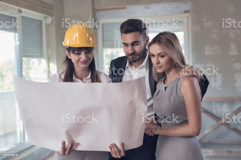 Revising Blueprints stock photo