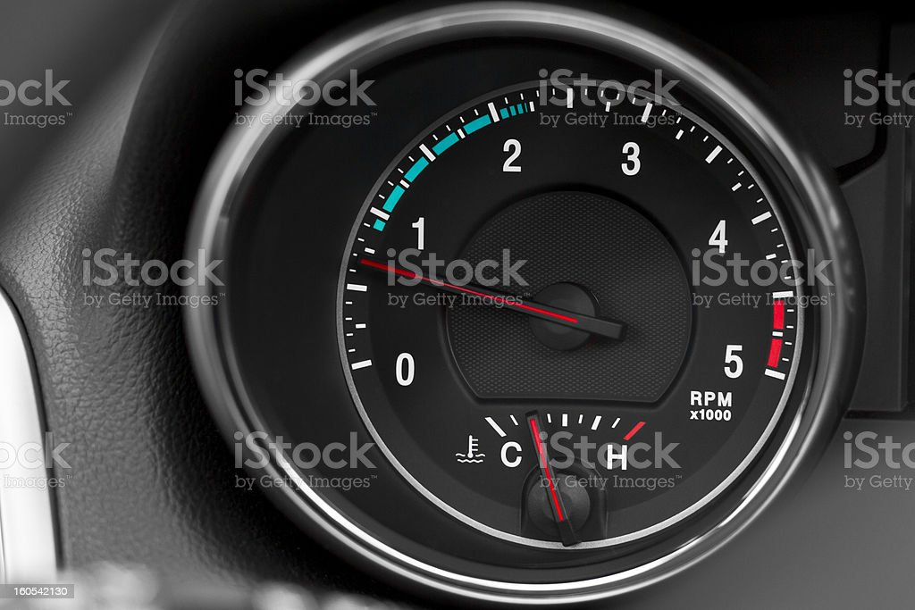 Revolution counter with efficiency scale stock photo