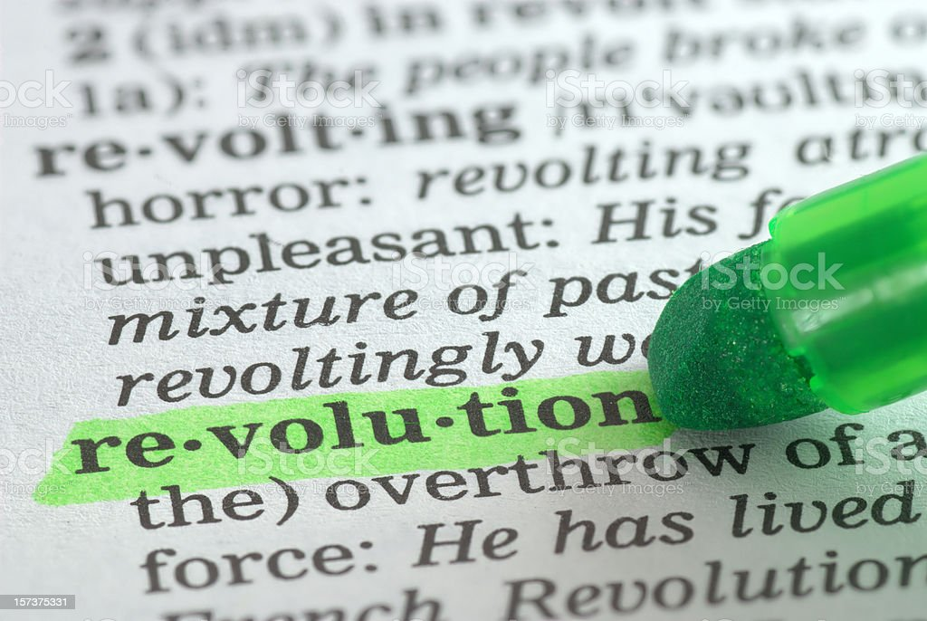 revolution highlighted in dictionary stock photo