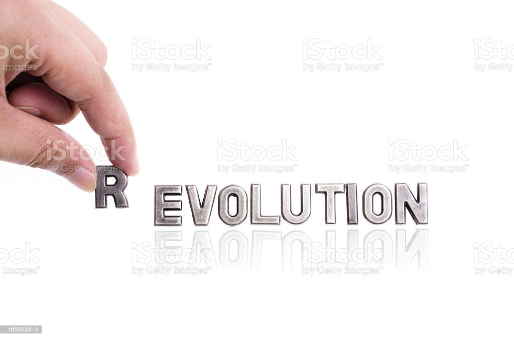 revolution, not evolution stock photo