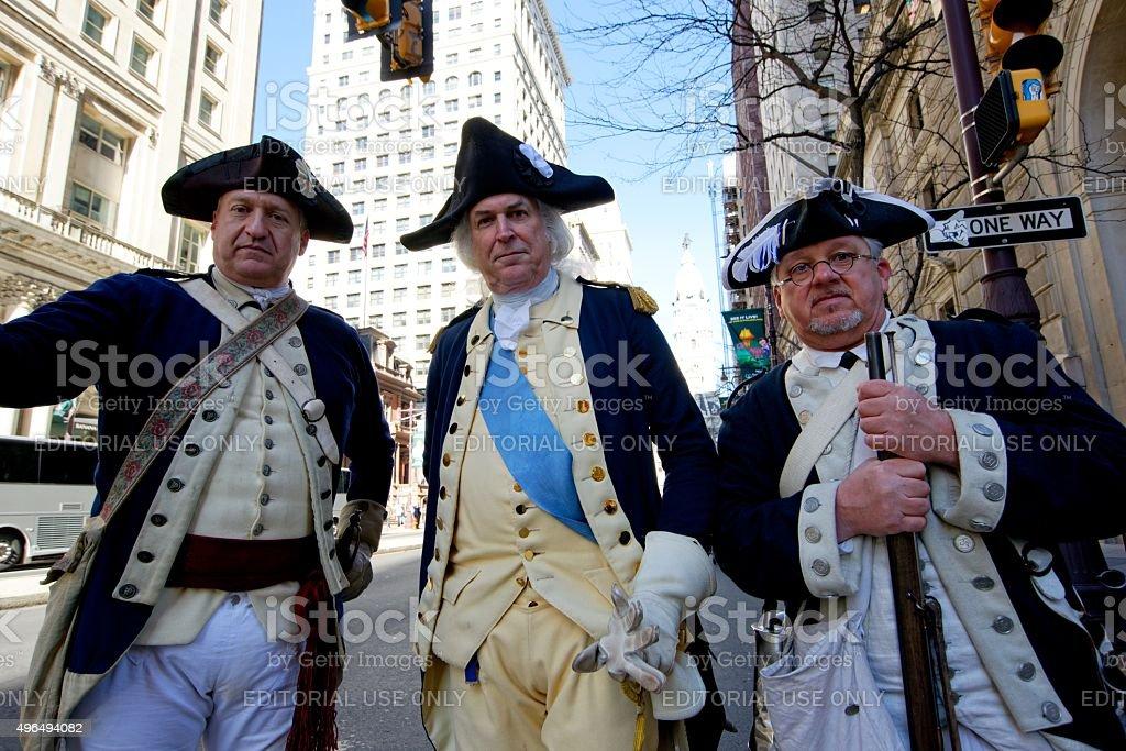 Revolutionary Army Reenactors at Philly Veterans Day Parade stock photo