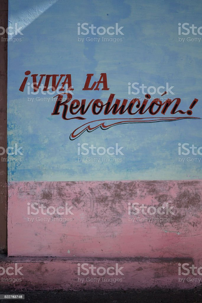 Revolutionary street art in Cuba. stock photo