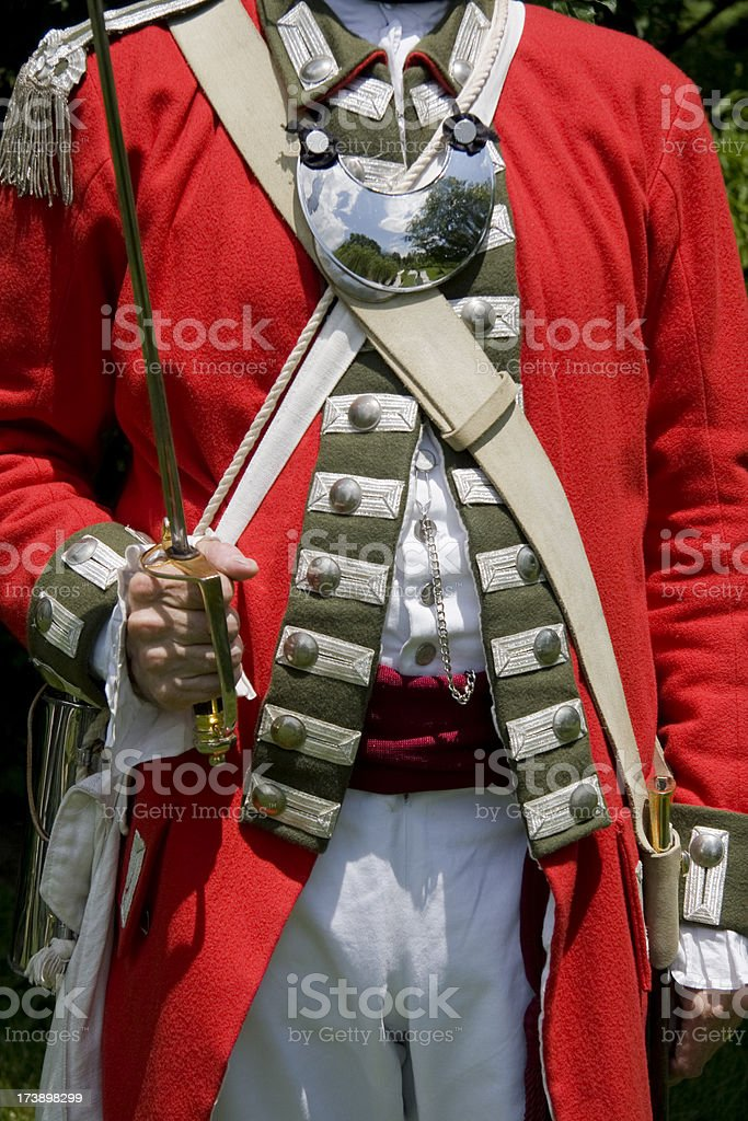 Revolutionary War --Loyalist Officer Holding Sword royalty-free stock photo