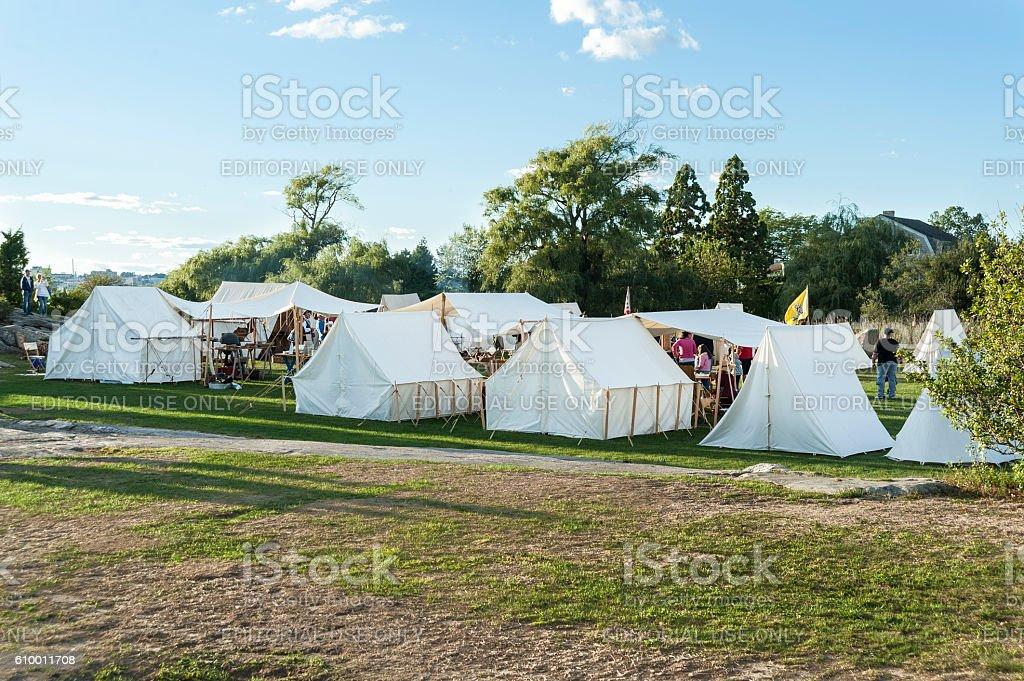 Revolutionary War reenactor encampment stock photo