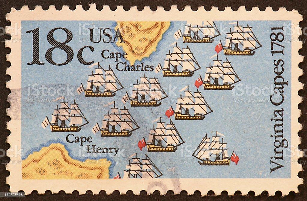 Revolutionary war sea battle stock photo