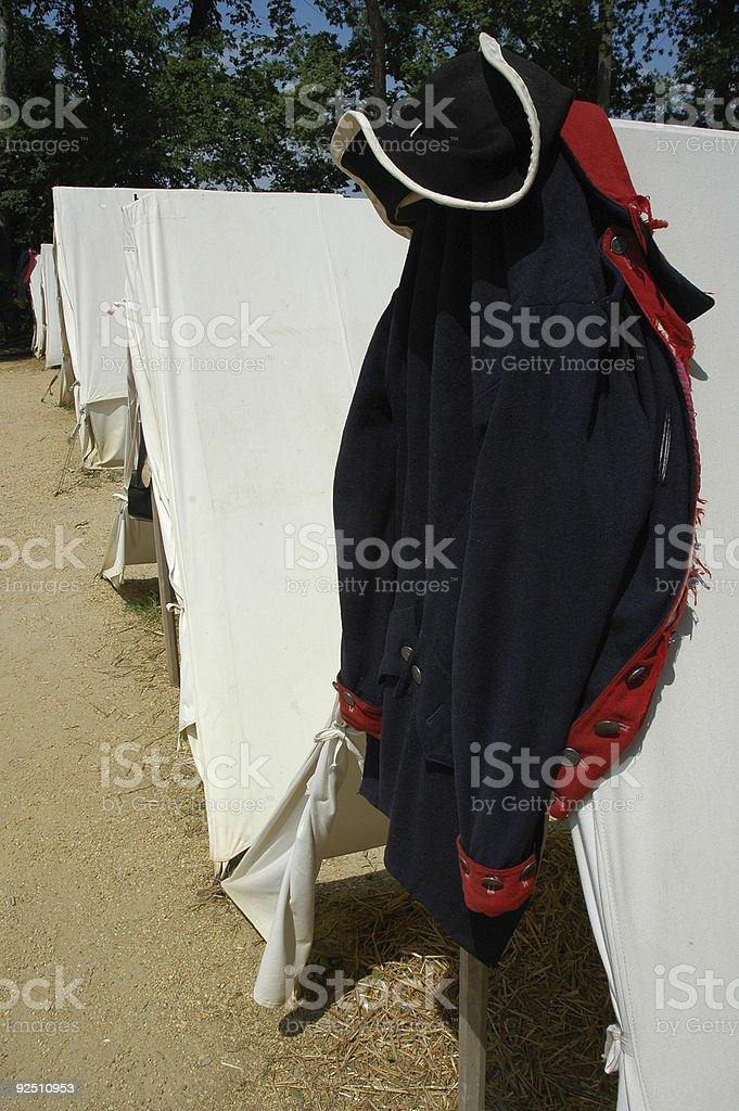 Revolutionary War Tents/Uniform royalty-free stock photo