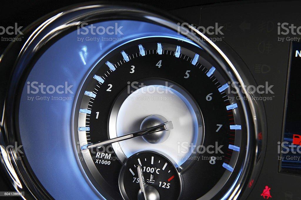 revolutions per minute (RPM) gauge stock photo