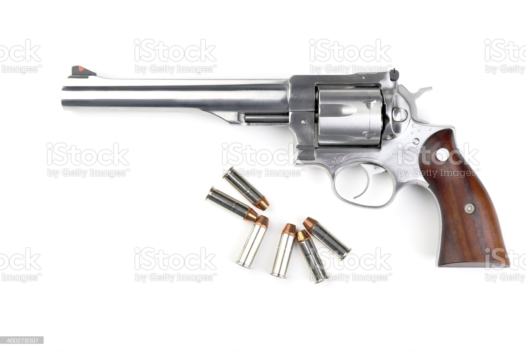 Revolver 44 magnum with bullets royalty-free stock photo